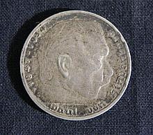GERMAN SILVER 1847-1934 VON HINDENBURG COIN 5 MARKS