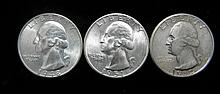 3 Unc Washington Quarters 1932, 1948, 1951 High Grade
