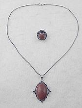 Sunstone 2 Pc Sterling Ring, Pendant Necklace