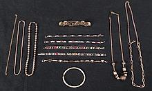 10 Pc Costume Jewelry Lot Gold Tone Necklaces Bracelets
