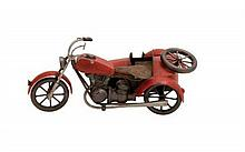 Handmade Vintage-style Metal Model Motorcycle with Side
