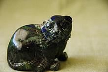 Azurite small carving of a cat