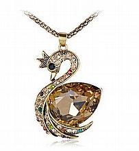 Vintage Golden Rhinestone & Topaz Swan Pendant Necklace