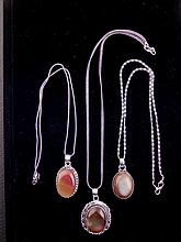 3 Different Amber Sterling Pendants, Necklaces