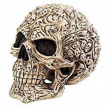 Intricately hand carved skull trinket box