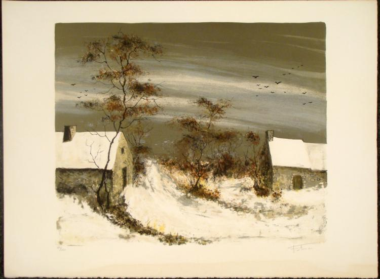 Fatima Signed Lithograph Art Winter Scene