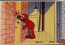 Knock Knock Original Animation Elmo Cel Background Art