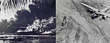 2 WWII Photos Bombing Rome Pearl Harbor B-25 USS