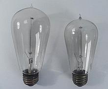 Lot of 2 Antique Squirrel Cage Edison Mazda Light Bulbs