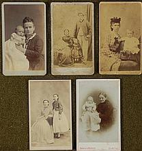 5 Antique CDV Photographs Families, Children, Babies