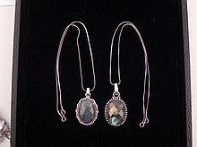 2 Different Labradorite Sterling Pendants, Necklaces