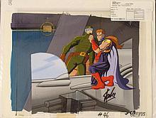 Production X-Men Orig Cortez Bkgd Cel Signed Stan Lee
