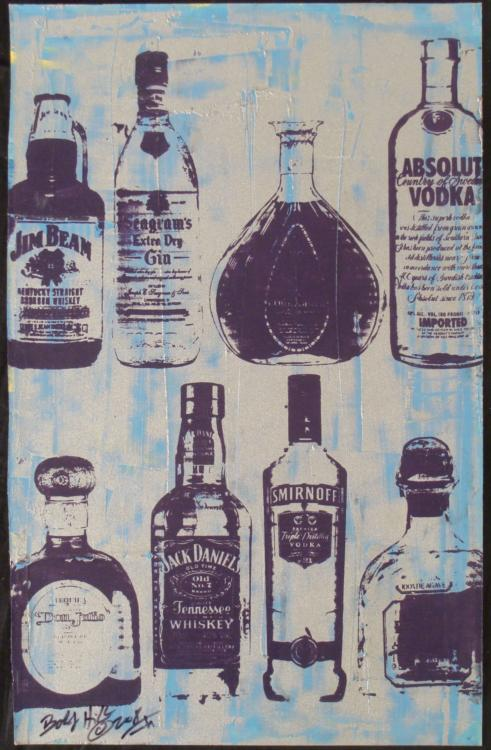 Bobby Hill Original Signed Painting Bottles Silver