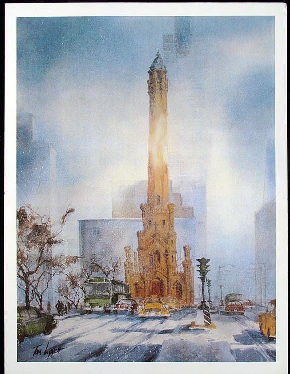 Tom Lynch Chicago Water Tower Art Print