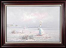 Marie Charlot Original Painting Victorian Beach -Framed