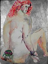 Betty Snyder Rees Original Painting Nude w/Tattoo