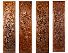 Alfons Mucha - four carved wooden panels