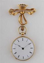 Gold pocket watch decorated with figural enamel