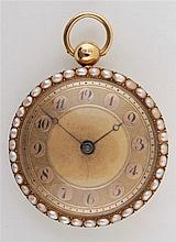Gold pocket watch decorated with pearls