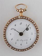 Gold pocket watch decorated with figurative enamel