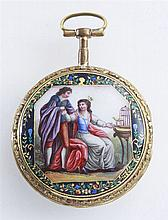 Pocket watch with figural enamel
