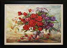Arina-Roses & Tulips Mixed Media Original Edition of 25