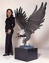 Jules Moigniez Monumental Eagle Bronze Sculpture