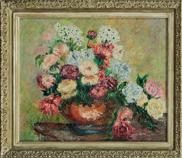 Vintage Original Oil on canvas by Linda Lewis