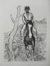 Alice Asmar Original Lithograph Man on a Horse