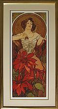 Alphonse Mucha-Les Rubis/Ruby Gold Foil Embellished