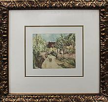 Pierre Renoir-Hand Colored Etching Embossed-The Path