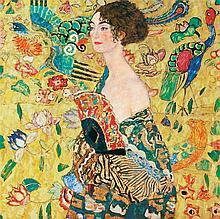 Gustav Klimt Embellished Limited Ed Giclee Woman with Basket