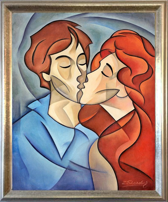 Zinovy Shersher Original Oil on canvas The Kiss