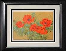 Vibrant Poppies-by David Lee- Serigraph