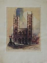 Lithograph Notre Dame de Montreal