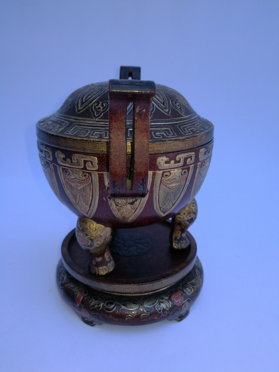 Qing Dy Chinese Foreign Lacquer Incense Burner and Base