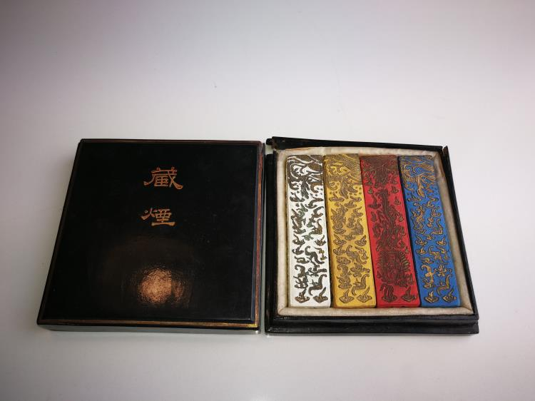 A Box of Qing Dynasty Chinese Multi coloured Inks