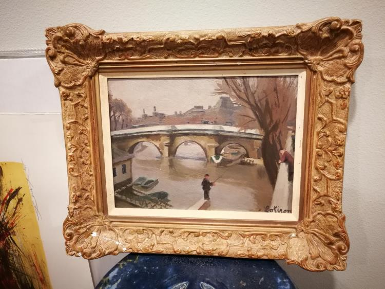 Oil Painting Fisherman The Seine Signed R Lotiron