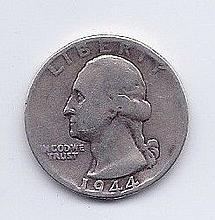 1944 25 Cent Silver Washington Quarter