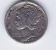 1943 10 Cent Silver Mercury Dime