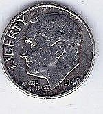 1949 10 Cent Silver Roosevelt Dime
