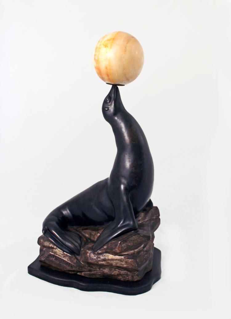 Art Deco Seal Lamp Sculpture