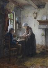 Jacobus Franciscus Brugman (1830-1898) - aquarel, 45 x 32, Man en vrouw bij tafel in interieur, g