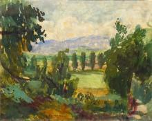 Louis Favre (1892-1956) - gouache, 18 x 22, Doorkijkje in heuvellandschap, gesigneerd midden onde