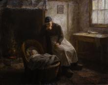 Piet van Boxel (1912-2001) - doek, 80 x 100, Interieur met kind in de wieg, gesigneerd r.o.