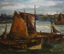 Julien Creytens (1897-1972) - doek, 57 x 66, Schepen in haven, gesigneerd r.o.