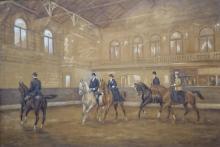 Dirk Johannes van Haaren (1878-1953) aquarel, 49 x 71,5, Interieur van de Hollandsche Manege te