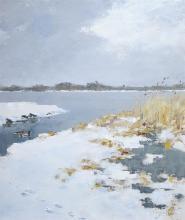 Jo Schrijnder (1894-1968) doek, 60 x 50, Winters plasgezicht met eenden, gesigneerd r.o.