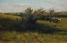 Hermanus Charles Christiaan Bogman (1861-1921) marouflé, 21,5 x 31, Koeien in landschap, gesign