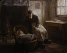 Piet van Boxel (1912-2001) doek, 80 x 100, Interieur met kind in de wieg, gesigneerd r.o.